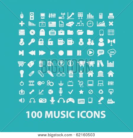 music flat icons set  for digital web, print, design, mobile phone apps, vector