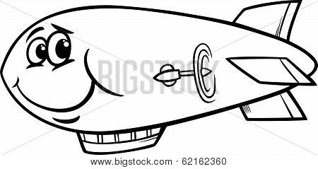 Zeppelin Airship Cartoon Coloring Page