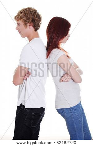 Young couple take offense after quarrel. Friendship or romance relation.