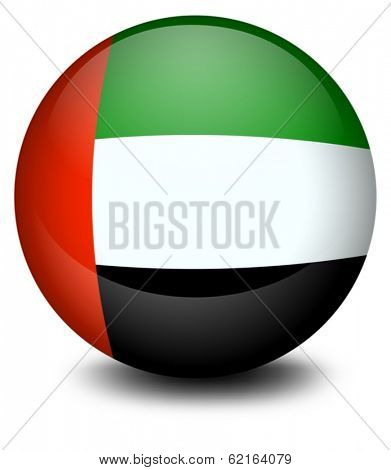 Illustration of a ball with the flag of the United Arab Emirates on a white background