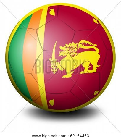 Illustration of a soccer ball with the flag of Sri Lanka on a white background