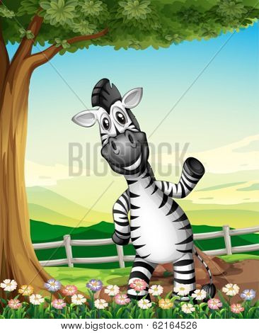 Illustration of a smiling zebra near the tree