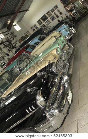Display Room With Vintage Chevrolet Motorcars