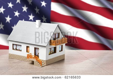 classic house against USA flag background