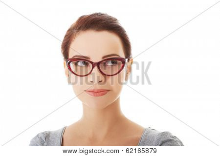 Portrait of beautiful woman in red eyeglasses. Isolated on white.