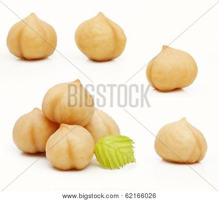 Forest nuts hazelnuts isolated on white background.