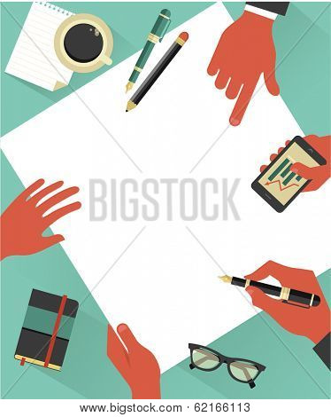 Business meeting background with hands, vector