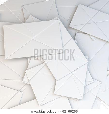 3D Stack Of Blank White Envelopes