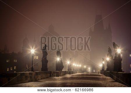 foggy Charles Bridge before dawn, Prague, Czech Republic