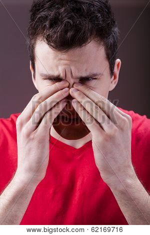 Man Having Sinus Pain