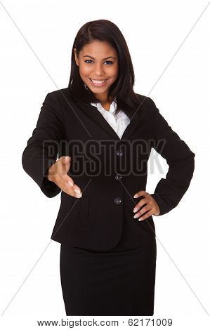 Business Woman Extending Her Hand To Handshake