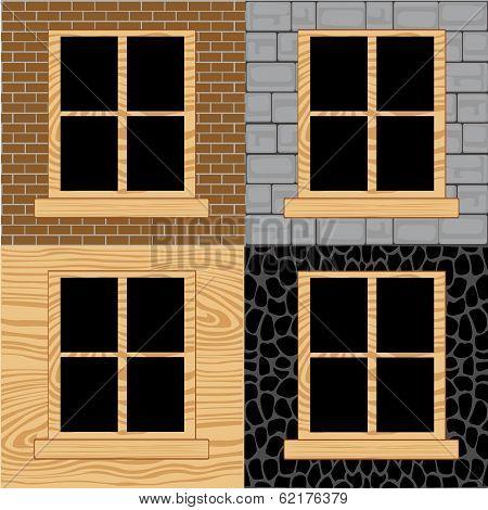 Wooden window in wall
