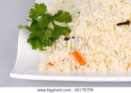 Indian Ghee rice on white plate