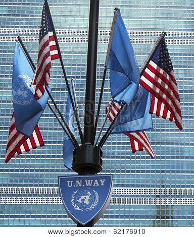 United Nations and United States Flags in the front of UN Headquarter in New York