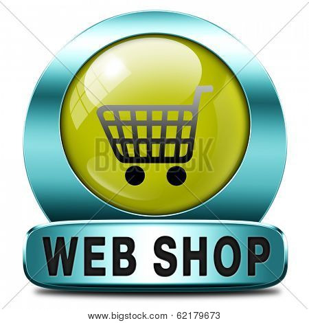 web shop icon or online shopping button for internet webshop or store