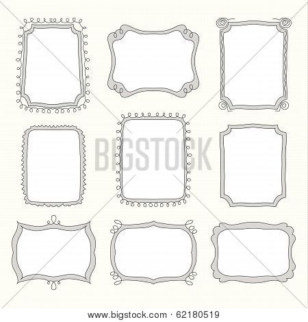 Set of doodle frames and different elements