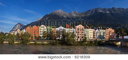 Panoramic view of the river Inn, Innsbruck, Austria