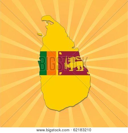Sri Lanka map flag on sunburst vector illustration