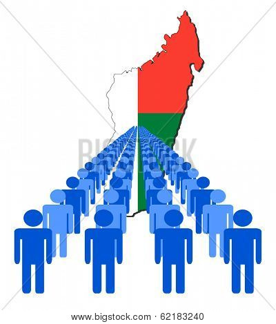 Lines of people with Madagascar map flag vector illustration