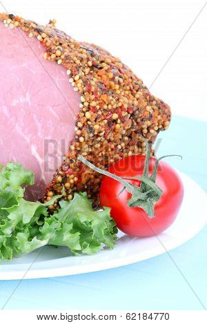Bloated Beef And Tomato On Plate