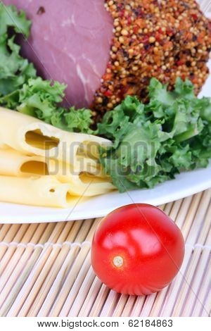 Bloated Bacon,cheese And Salad Leaf On Mat