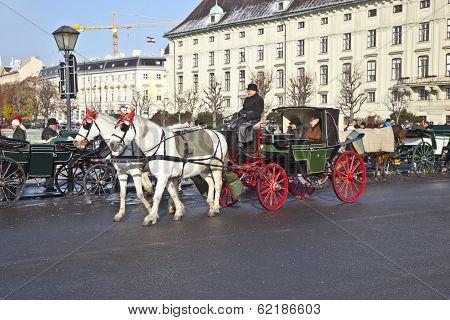 Traditional Coach Fiaker Traveling Tourists