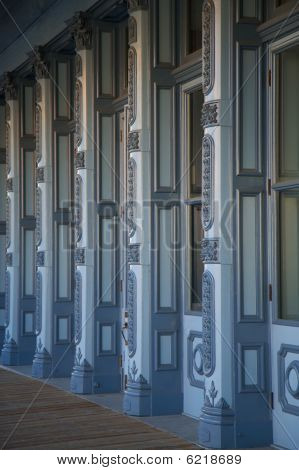 Blue Building Columns