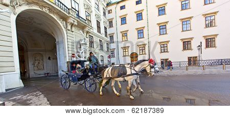 Horse Drawn Fiaker At The Hofburg