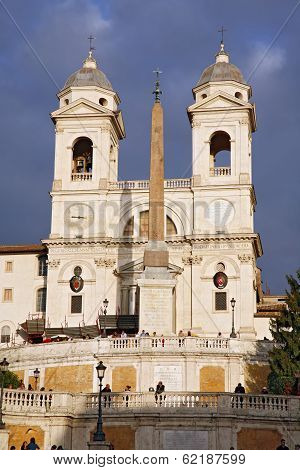 Church Of Trinita Dei Monti (spanish Steps) In Rome, Italy