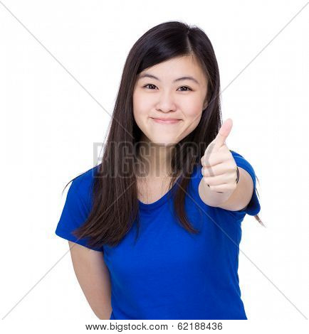 Asia woman thumb up