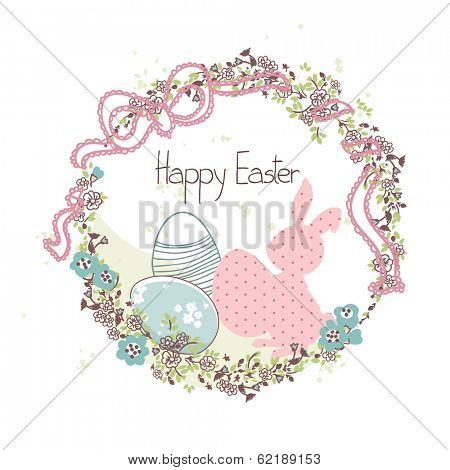easter wreath with bunny and eggs