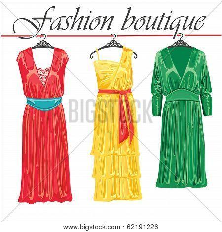 Three Summer Silk Dresses.fashion Boutique