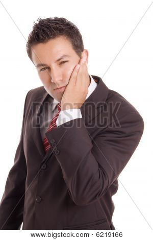Young Business Man Whith A Toothache Over White Background