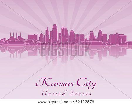 Kansas City Skyline In Purple Radiant Orchid