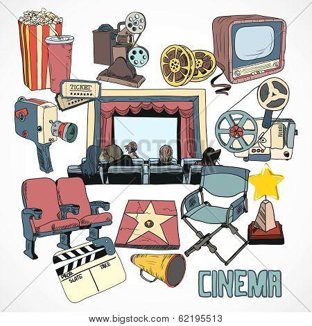 Vintage cinema concept poster