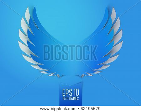 Blue paper angel wings emblem