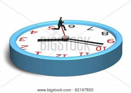 Running And Jumping Over Second Hand On Clock
