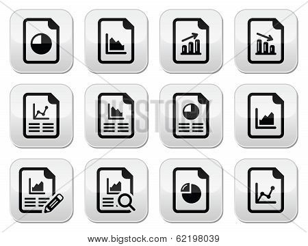 Document with pie chart, graph buttons set