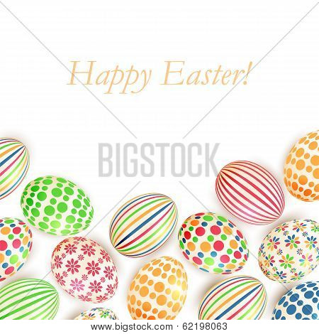 Easter Eggs Colorful Patterns Isolated On White Background