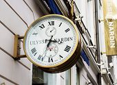 MOSCOW - MARCH 23, 2014: Ulysse Nardin wall clocks. Ulysse Nardin is a watch manufacturer founded in