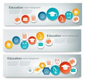 foto of dick  - Set of education banners with icons - JPG