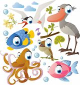 picture of nightingale  - Vector animal set - JPG