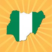 Nigeria map flag on sunburst vector illustration