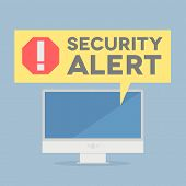 stock photo of malware  - minimalistic illustration of a monitor with a security alert speech bubble - JPG