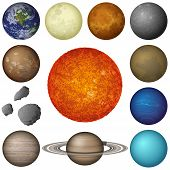 image of earth mars jupiter saturn uranus  - Space set of isolated planets and objects of Solar System - JPG