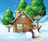 Illustration of a penguin in front of the wooden house