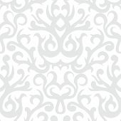stock photo of bohemian  - Vintage vector damask pattern with abstract shapes in white and silver gray - JPG