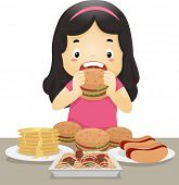 foto of bing  - Illustration of a Little Girl Going on an Eating Binge - JPG