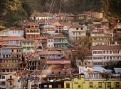 stock photo of ropeway  - Narikhala the ropeway over the old houses - JPG