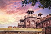 picture of india gate  - Lahore Gate of Red Fort at sunset sky in Old Delhi India - JPG